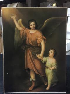 Heilige Christliche Bilder Wandbild 30x40 auf MDF Angel Schutz Engel mit Kind