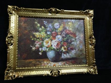 Gerahmte Gemälde Blumen Bilder 90x70 Blumen mit Vase Blau Bild mit Rahmen 01-04 - Vorschau 3