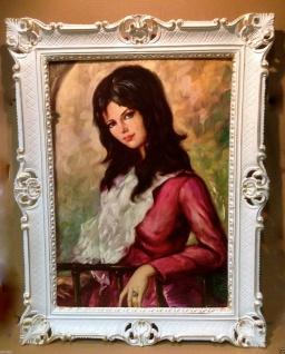 Gerahmte Gemälde Frau Die Dame in Rot bild Kunstdruck Bilderrahmen Barock 90x70