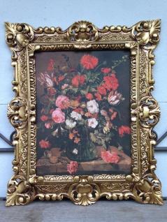 Gemälde Blumen mit Vase Bild Bilder 45x38 cm Kunstdruck Bild Wandbild mit Rahmen