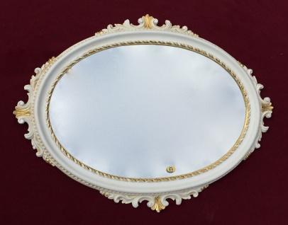 Wandspiegel Weiß Gold Oval Barock Spiegel Antik BadSpiegel 62x48 Flurspiegel C12