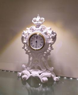 Tischuhr Weiß Kaminuhr Antik Barock 36 cm Standuhr Quarz dekoratives Schrankuhr - Vorschau 4