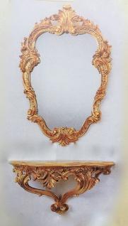 Wandspiegel mit Konsole Gold Oval Antik 49X33 BAROCK Ovaler Spiegel C443