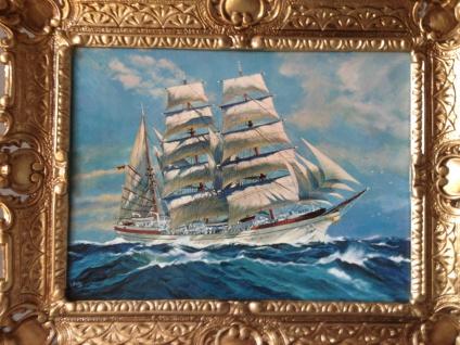 Segelschiff Meer Maritime Gemälde Schiffe Bilderrrahmen Wandbild Antik 56x46 W - Vorschau 3