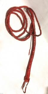 Lederpeitsche Peitsche Rot Bullenpeitsche ca.230 cm lang Billwhip BDSM Sado Maso