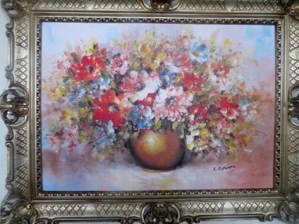 Gemälde Gerahmte Wilde Blumen in goldenen Vase 90x70 Flowers Bild mit Rahmen 98