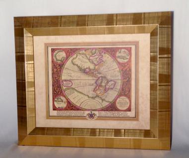 Weltkarte mit Rahmen 65x55 Gemälde Weltatlas Bilderrrahmen HOLZ Wandbild Antik - Vorschau 4