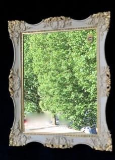 Wandspiegel 30x24 Antik Weiß-Gold Badspiegel Barock Flurspiegel C6E Creme-Gold