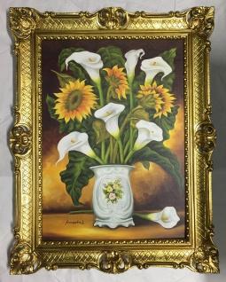 Blumen Gerahmte Gemälde 90x70 Bild mit Blumen Calla Sonnenblumen 01-09 Blumen