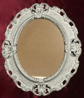 Bilderrahmen Oval Weiß-Silber Barock 45x38cm Fotorahmen Bilderrahmen ohne Glas