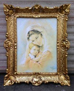 Mutter Kind Maria 56x46 Wandbild Heilige religiöse Kunstdruck Bild mit Rahmen