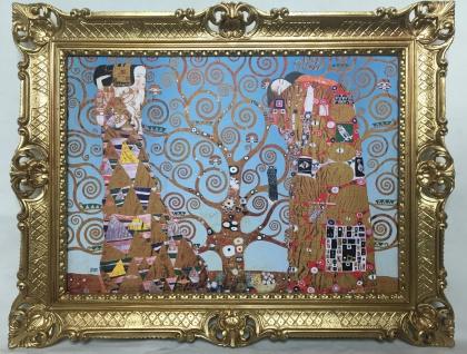 Gemälde Bild mit Rahmen xxl 90x70 Der Kuss von Gustav Klimt Lebensbaum Barock