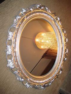Wandspiegel Antik Spiegel 68 x 58 BAROCK Oval Neu Silber Bilderrahmen