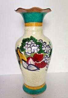 Bodenvase Ölpainting look mit Weintrauben Obst 46cm Deko Vase Keramik Handbemalt