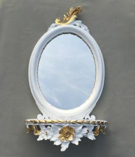 Wandspiegel Weiß Silber Barock mit Wandkonsole Antik Spiegel 48x25 Oval cp91 - Vorschau 5