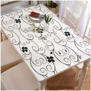 Tischschutz Folie 1, 8mm Transparent Tischdecke Silber Meterware 90-120cm Breite