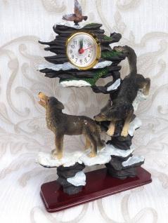 Pendeluhr Kaminuhr Tischuhr 30x20cm Wolf Skulptur Figur Standuhr Wölfe Wolf Deko