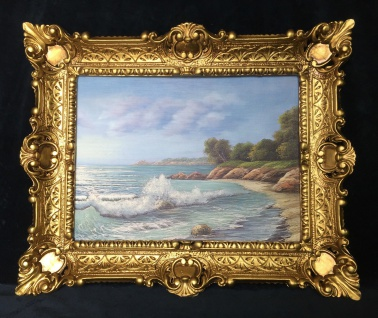 Bild Landschaft See/ Meer Kunstdruck 57x47 Wandbild mit Rahmen Strand Wanddeko