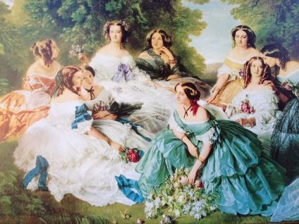 Barock Bild Frauen in Blumen Garten 50x70 Wandbild auf MDF Bild