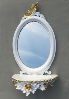 Wandspiegel Weiß Silber Barock mit Wandkonsole Antik Spiegel 48x25 Oval cp91 - Vorschau 2