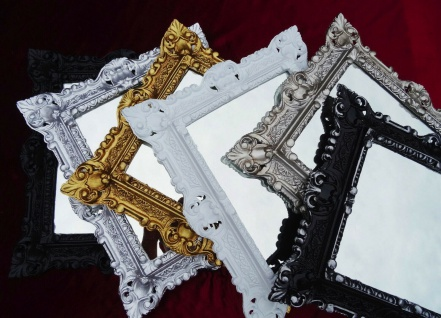 Bilderrahmen Barock Weiß Silber Schwarz Gold 45x38 Foto Rahmen 24x30 cm Antik