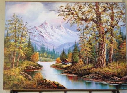 Landschaftsbild Schnee Berge Fluß Wald 50x70 Wandbild auf MDF Bild NEU