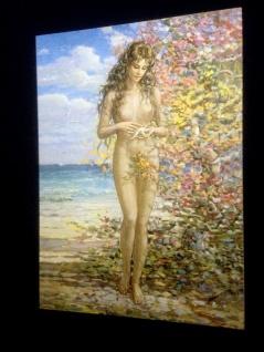Die Frau Seestern in Paradies Gemälde Wandbild 50x70 ohne Rahmen MDF Rückwand