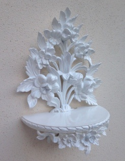Wandkonsole Barock weiß /Spiegelkonsolen/Wandregal /Deko 35x27 Blumen Konsole