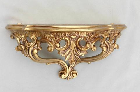 Wandkonsole Spiegelkonsole Barock Konsole Usedlook Shabby Gold 38x20 Regal 3083G - Vorschau 1