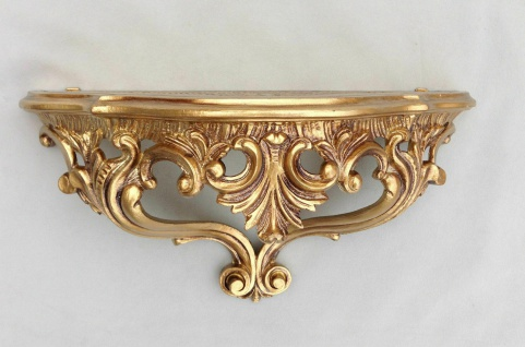 Wandkonsole antik Gold barok regal 38x35x 29 Wandspiegel Spiegelkonsole Cp75