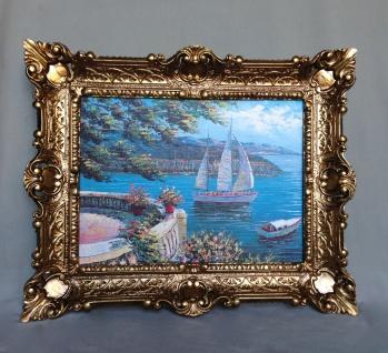 Bild mit Rahmen Gerahmte Gemälde 57x47 Landschafts Haus am See Segelschiff L11
