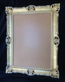 Bilderrahmen Gold-Weiß Barock mit Glas Antik 90x70 Hochzeitsrahmen für Fotos