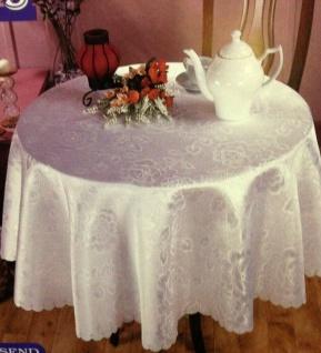 Runde Damast Tischdecke Tischtuch 180cm Rund Blau Rosa Stoff Bügelfrei Rosen