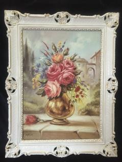 Gemälde Blumen Bild 90x70 Bild mit Rahmen Rosen in Goldene Vase gerahmt B3