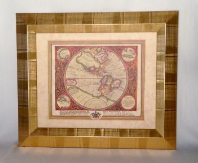 Weltkarte mit Rahmen 65x55 Gemälde Weltatlas Bilderrrahmen HOLZ Wandbild Antik - Vorschau 3