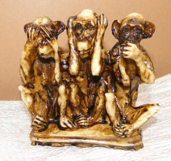 3 Affen figuren Dreiaffen12 x11x4 Kunststein Tiere nicht sehen hören sagen figur