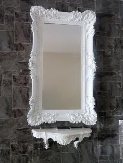 Wandspiegel Barock Weiß mit Konsole Rechteckig Antik Badspiegel 96x57 Wanddeko