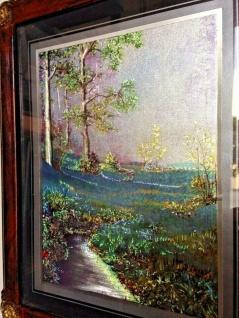 Bild mit Rahmen Landschaftsbild Blumenfeld Holzoptik Braun 31x26cm Barock Rahmen - Vorschau 3