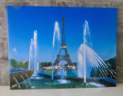 LED Bild mit Beleuchtung Leinwand Paris eiffelturm Wandbild Leuchtbild 60x80 - Vorschau 3