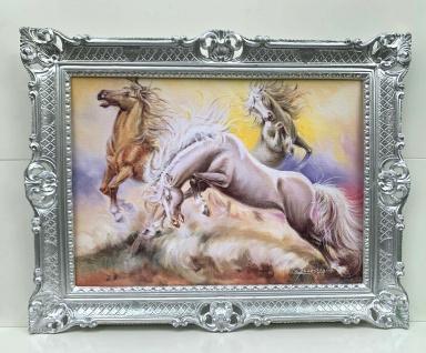 Bild mit Rahmen Prunk Gemälde Pferd Wandbild 90cm Wilde Pferde Wohnzimmerbild