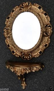 Wandspiegel Oval Gold mit Wandkonsole Spiegelablage Konsole 45x37 Badspiegel