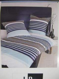 Janine Mako Satin Bettwäsche 140x220 Bettgarnitur Streifen dessin Blau Baumwolle