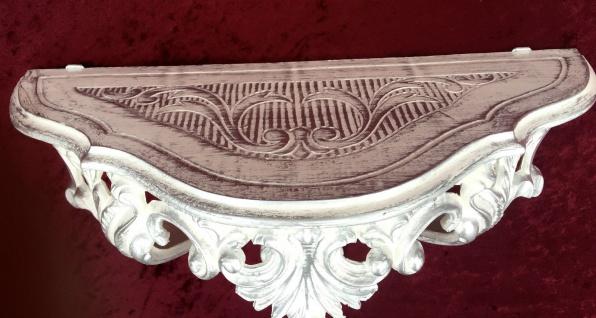 Konsole, Ablage Weiß-Silber Antik, Barock 38x20x16 Wandkonsole Wandregale 103083 - Vorschau 2