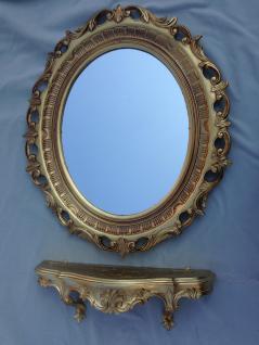 WandSpiegel mit Barock Konsole Gold 58x68 Wandregale Antik Spiegelkonsole 45x21