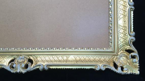 Bilderrahmen Gold-Weiß Barock Antik 90x70 Hochzeitsrahmen Groß Fotorahmen