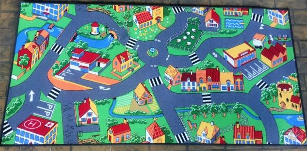 Spielteppich Kinderteppich Teppich Strasse Kinder Spielmatte 100x200cm Neu