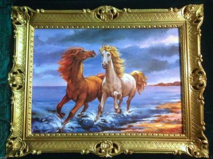 Gemälde Pferd Bild 90x70cm Barock Ölbild Kunstdruck Pferde am Meer Tiere Pferd 1 - Vorschau 3