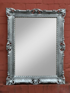Barock Spiegel Italienische Wandspiegel Bad Antik Silber Rechteckig 90x70 Prunk