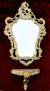Wandspiegel mit Konsole Gold Weiß barock 50x76 Wandkonsole Antik Spiegelablage