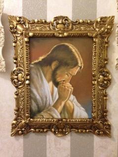 Heiligenbild Jesus Bild Antik Gemälde 45x38 Bild Wandbild Religiöse Bilderrahmen
